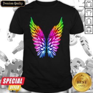 LGBT Rainbow Colored Angel Wings Lesbian And Gay Pride LGBT Shirt