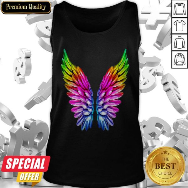 LGBT Rainbow Colored Angel Wings Lesbian And Gay Pride LGBT Tank Top