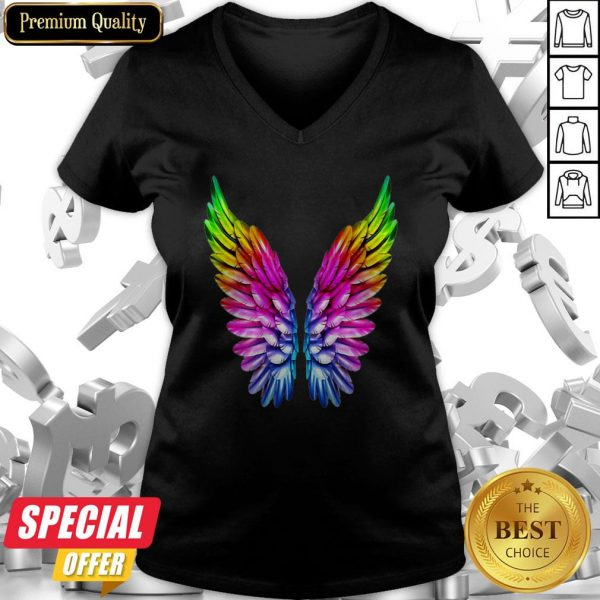 LGBT Rainbow Colored Angel Wings Lesbian And Gay Pride LGBT V-neck