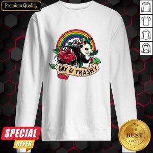 Nice LGBT Rose Racoon Gay Trashy Sweatshirt