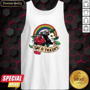 Nice LGBT Rose Racoon Gay Trashy Tank Top