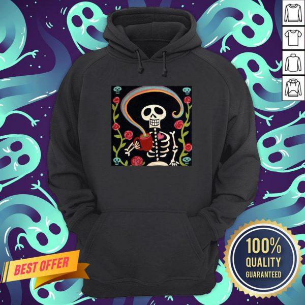 Rainbow Skelly Coffee Sugar Skulls Dia De Muertos Day Of The Dead Hoodie