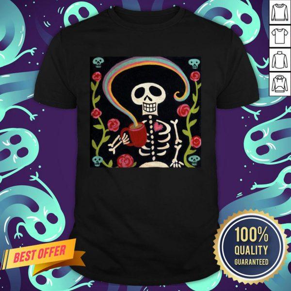 Rainbow Skelly Coffee Sugar Skulls Dia De Muertos Day Of The Dead Shirt