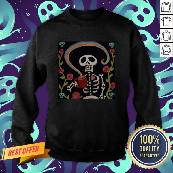 Rainbow Skelly Coffee Sugar Skulls Dia De Muertos Day Of The Dead Sweatshirt