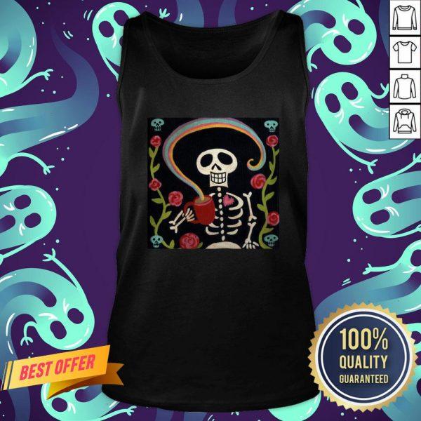 Rainbow Skelly Coffee Sugar Skulls Dia De Muertos Day Of The Dead Tank Top