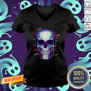 Skull Day Of The Dead Eighties Retro Violet And Purple Halloween V-neck