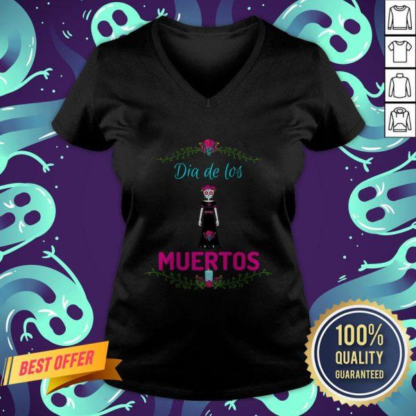 Skull Girl Dia De Los Muertos Day Of The Dead V-neck