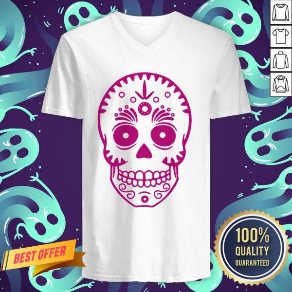 Sugar Skull Purple Day Of The Dead Muertos V-neck