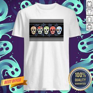 Sugar Skulls Calaveras Lineup In Color Day Of The Dead Shirt