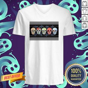 Sugar Skulls Calaveras Lineup In Color Day Of The Dead V-neck