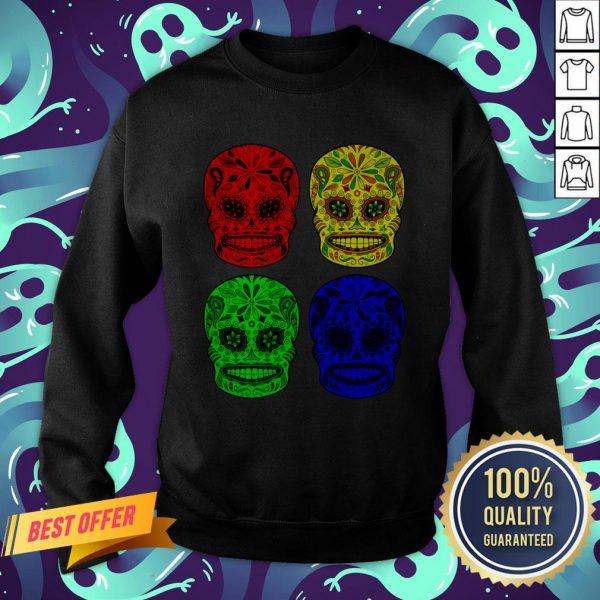 Sugar Skulls Colorful Dia De Los Muertos Day Dead Sweatshirt