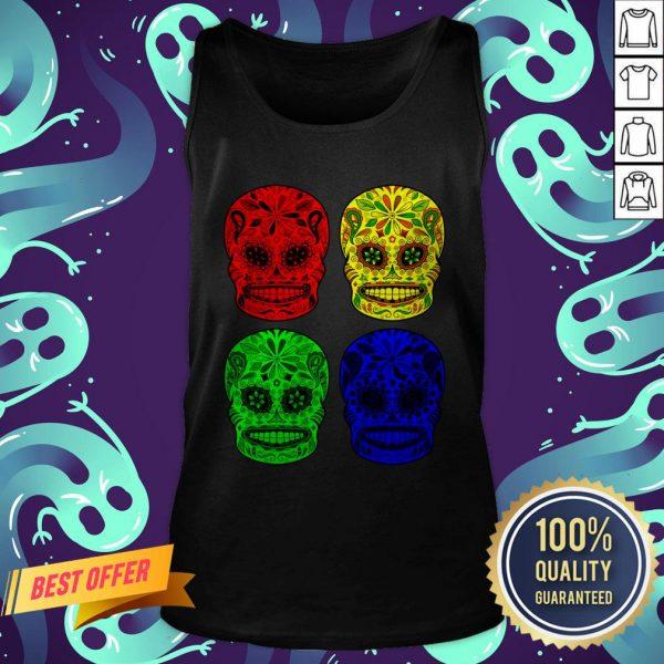 Sugar Skulls Colorful Dia De Los Muertos Day Dead Tank Top
