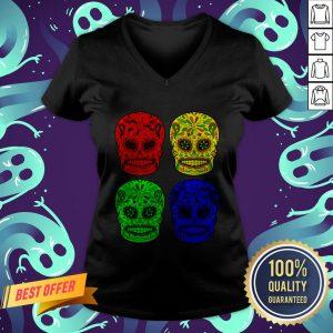 Sugar Skulls Colorful Dia De Los Muertos Day Dead V-neck