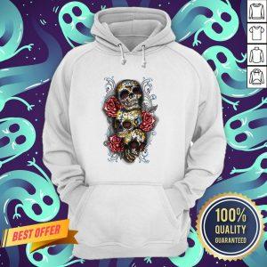Three Sugar Skulls With Roses Dia De Muertos Day Of Dead Hoodie