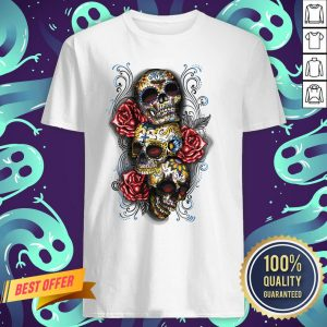 Three Sugar Skulls With Roses Dia De Muertos Day Of Dead Shirt
