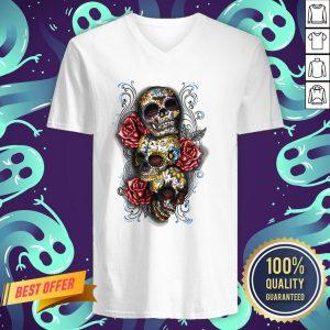 Three Sugar Skulls With Roses Dia De Muertos Day Of Dead V-neck