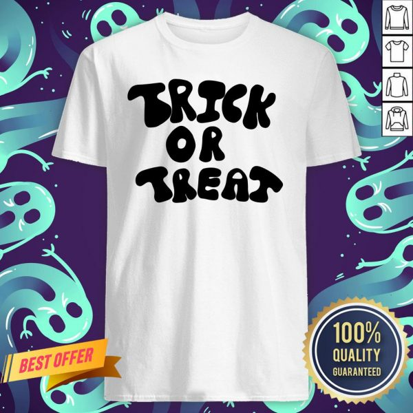 Trick Or Treat Calligraphy Orange & Black Halloween Shirt