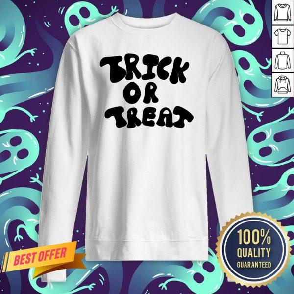 Trick Or Treat Calligraphy Orange & Black Halloween Sweatshirt