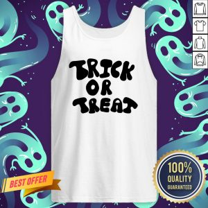 Trick Or Treat Calligraphy Orange & Black Halloween Tank Top