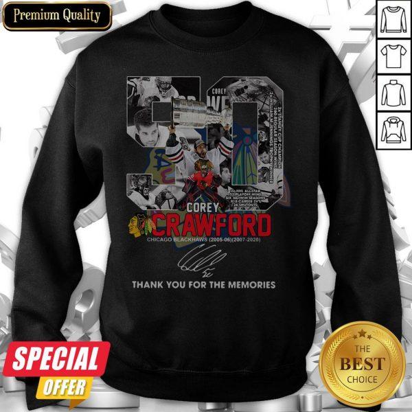 50 Corey Crawford Chicago Blackhawks 2005 06 2007 2020 Thank You For The Memories Signature Sweatshirt