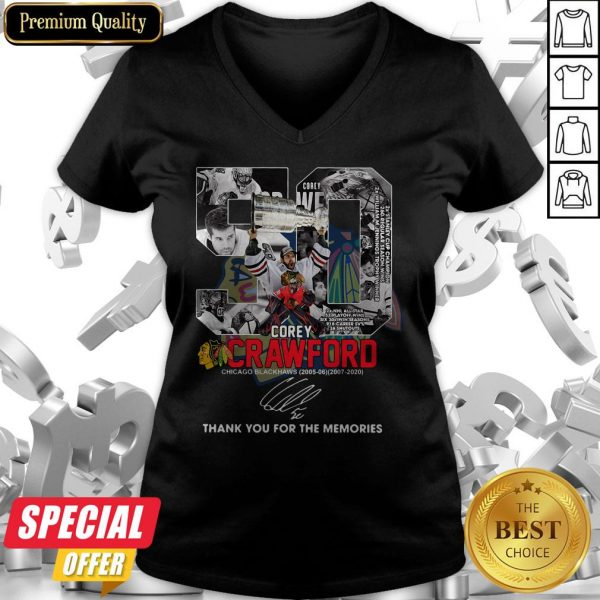 50 Corey Crawford Chicago Blackhawks 2005 06 2007 2020 Thank You For The Memories Signature V-neck
