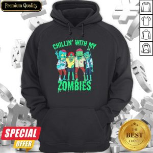 Chillin With My Zombies Halloween Boys Kids Zombie Hoodie