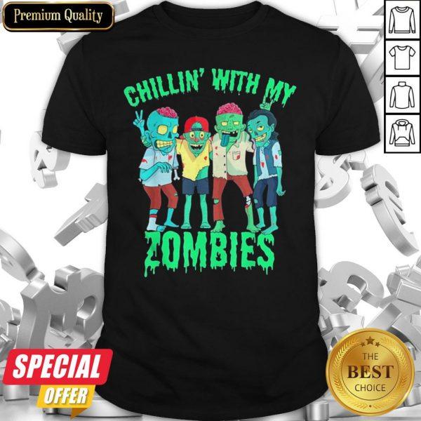 Chillin With My Zombies Halloween Boys Kids Zombie Shirt