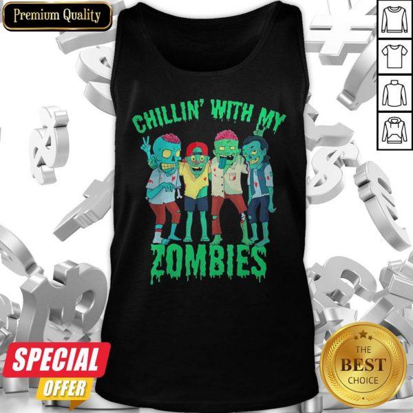 Chillin With My Zombies Halloween Boys Kids Zombie Tank Top