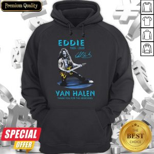 Eddie Van Halen Rock And Roll 1955-2020 Thank You For The Memories Signature Blue Hoodie