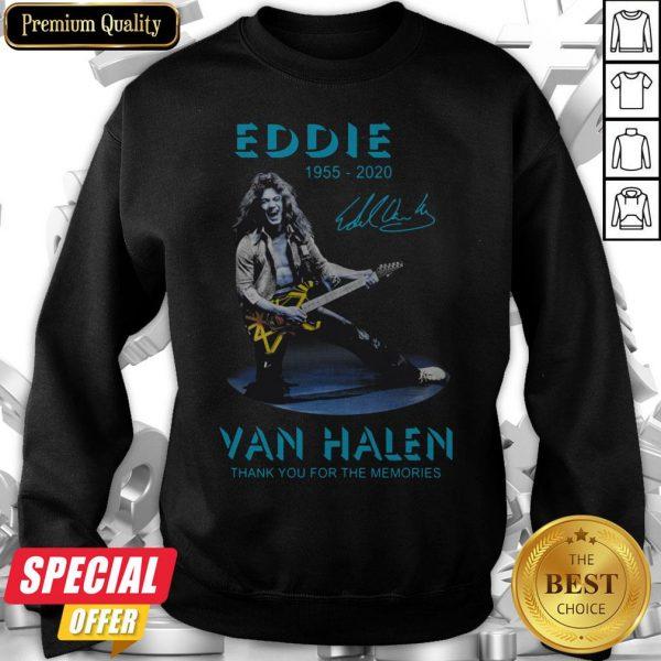 Eddie Van Halen Rock And Roll 1955-2020 Thank You For The Memories Signature Blue Sweatshirt