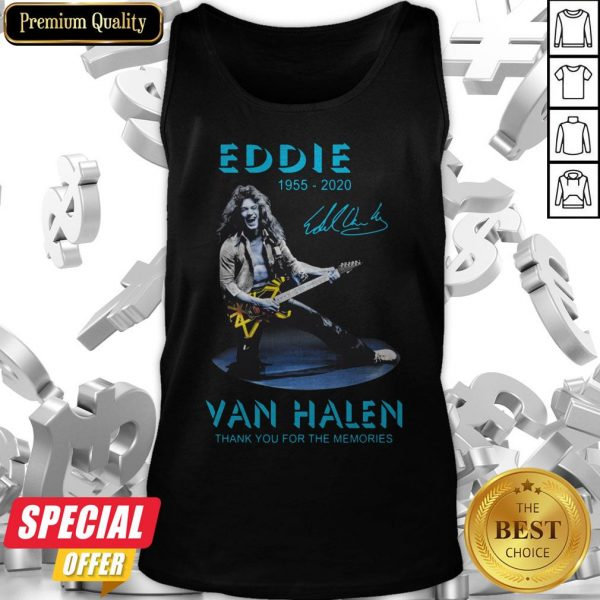 Eddie Van Halen Rock And Roll 1955-2020 Thank You For The Memories Signature Blue Tank Top