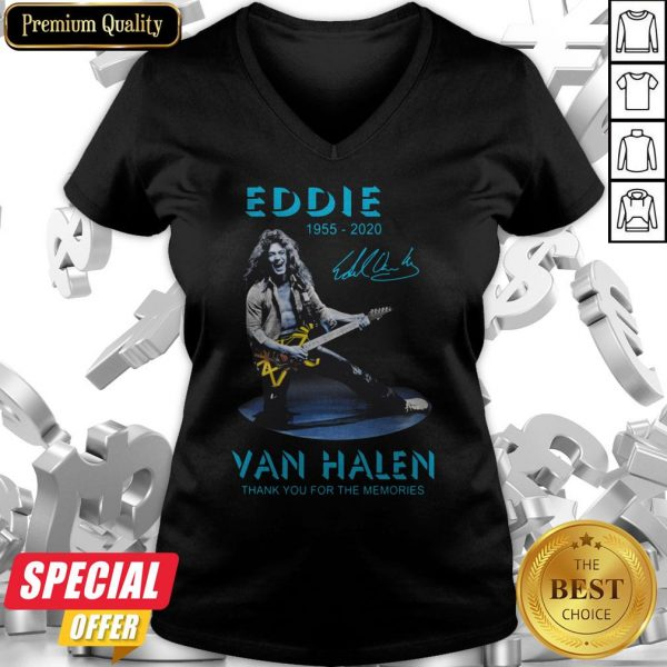 Eddie Van Halen Rock And Roll 1955-2020 Thank You For The Memories Signature Blue V-neck