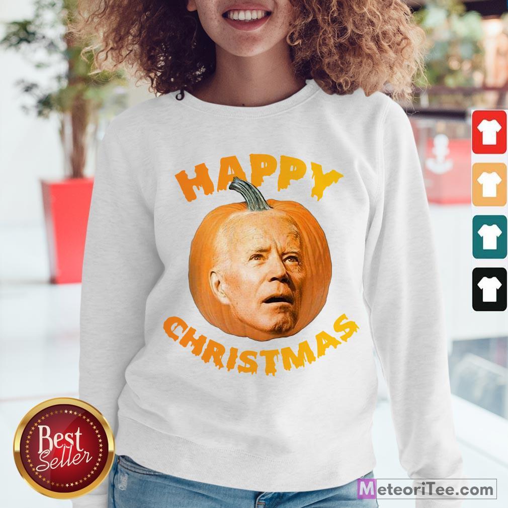 Funny Joe Biden Pumpkin Happy Christmas Sweatshirt- Design by Meteoritee.com