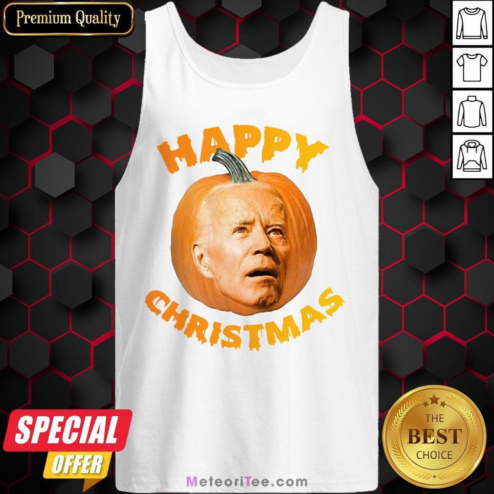 Funny Joe Biden Pumpkin Happy Christmas Tank Top- Design by Meteoritee.com