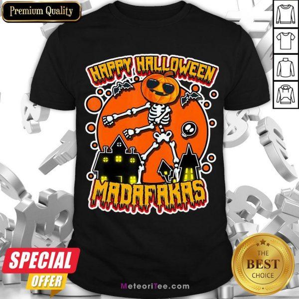 Funny Pew Pew Boo Boo Madafakas Cool Pumpkin Happy Halloween Shirt- Design by Meteoritee.com