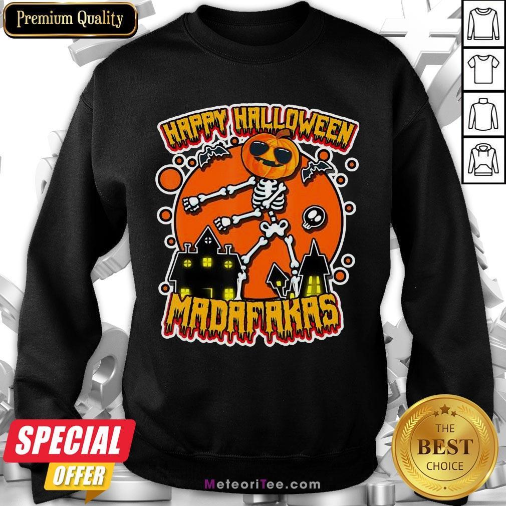 Funny Pew Pew Boo Boo Madafakas Cool Pumpkin Happy Halloween Sweatshirt- Design by Meteoritee.com