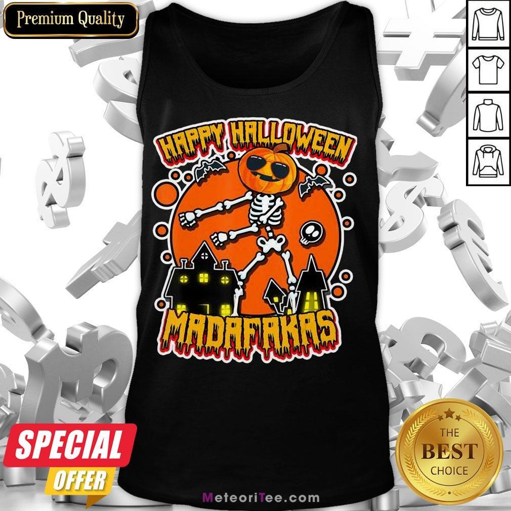 Funny Pew Pew Boo Boo Madafakas Cool Pumpkin Happy Halloween Tank Top- Design by Meteoritee.com