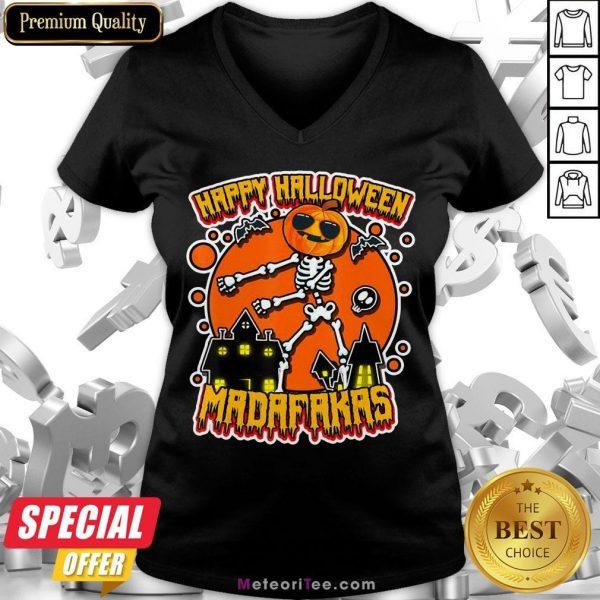 Funny Pew Pew Boo Boo Madafakas Cool Pumpkin Happy Halloween V-neck- Design by Meteoritee.com