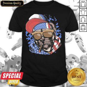 Funny Pug Smoking American Flag Shirt