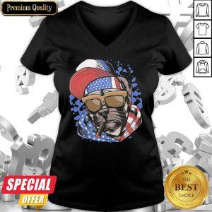 Funny Pug Smoking American Flag V-neck