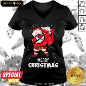 Funny Santa Dabbing Mask Toilet Paper Funny Christmas V-neck- Design by Meteoritee.com