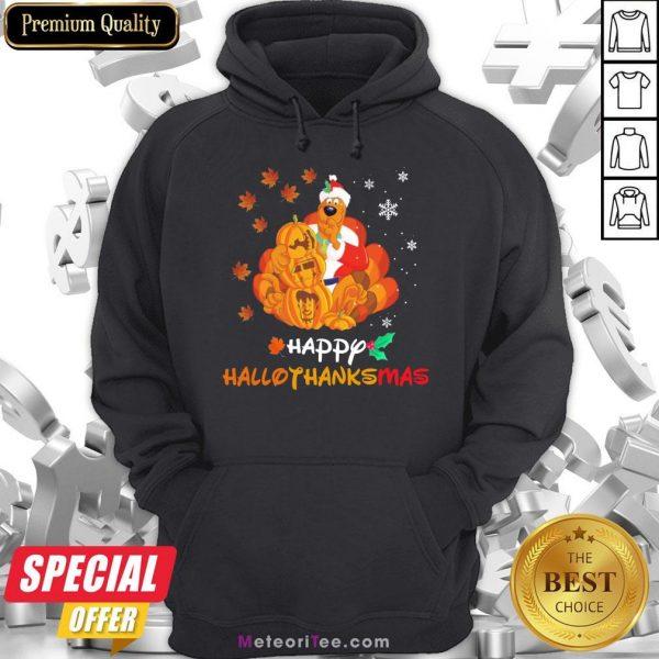 Funny Scooby-Doo Pumpkin Happy Hallothanksmas Halloween Thanksgiving Christmas Hoodie- Design by Meteoritee.com