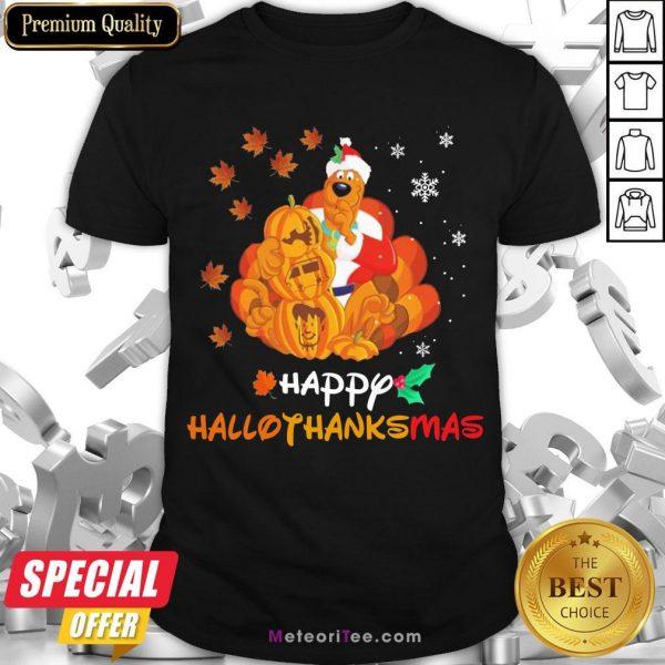 Funny Scooby-Doo Pumpkin Happy Hallothanksmas Halloween Thanksgiving Christmas Shirt- Design by Meteoritee.com