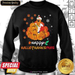 Funny Scooby-Doo Pumpkin Happy Hallothanksmas Halloween Thanksgiving Christmas Sweatshirt- Design by Meteoritee.com