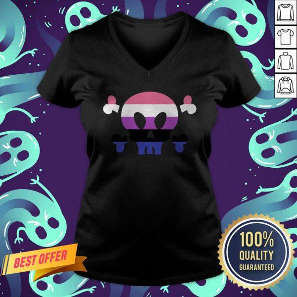 Genderfluid LGBT Pride Skull Halloween V-neck