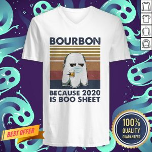 Ghost Mask Bourbon Because 2020 Is Boo Sheet Vintage Retro V-neck