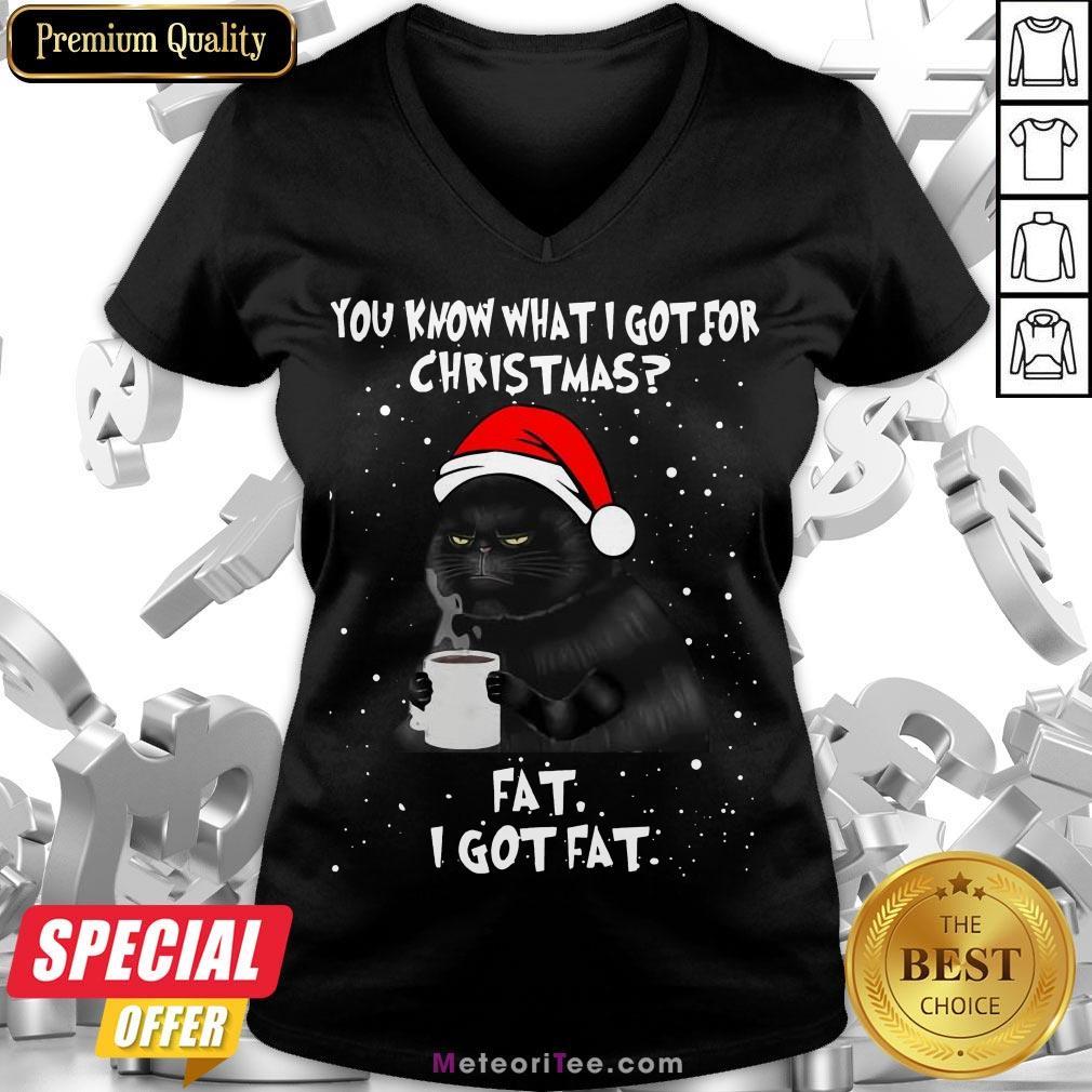 Good Black Cat You Know What I Got For Christmas Fat I Got Fat V-neck- Design by Meteoritee.com