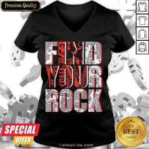 Good Find Your Rock Skeleton Halloween V-neck- Design by Meteoritee.com
