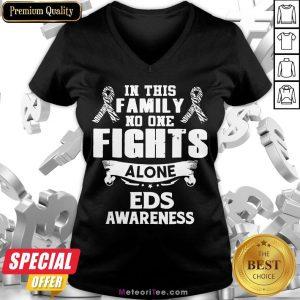 Good No One Fights Alone Eds Awareness V-neck- Design by Meteoritee.com