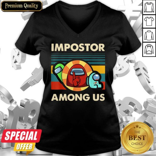 Impostor Among Us Funny Vintage Game Sus V-neck